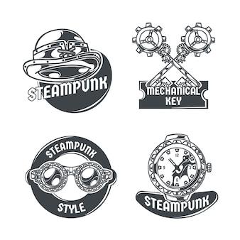 Steampunk zestaw z czterema izolowanymi emblematami, edytowalnym tekstem i obrazami różnych przedmiotów