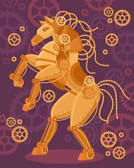 Steampunk złoty koński tło