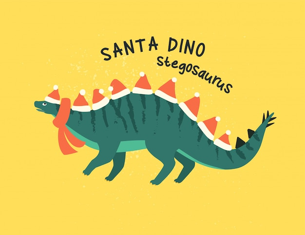 Stegozaur przebrany za świętego mikołaja.
