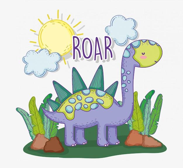 Stegozaur zwierzę w roślinach z słońcem i chmurami