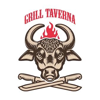Stek. głowa byka i skrzyżowane noże kuchenne. element logo, etykiety, godła. ilustracja