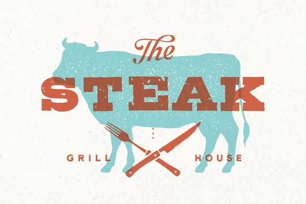 Stek, krowa. logo vintage, nadruk retro, plakat dla mięsnego sklepu mięsnego z tekstem, typografia steak, grill house, sylwetka krowy. szablon logo dla steków, branży mięsnej, sklepu mięsnego. ilustracja