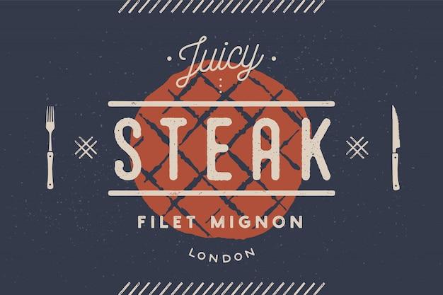 Stek, logo, etykieta mięsa. logo z sylwetką steku
