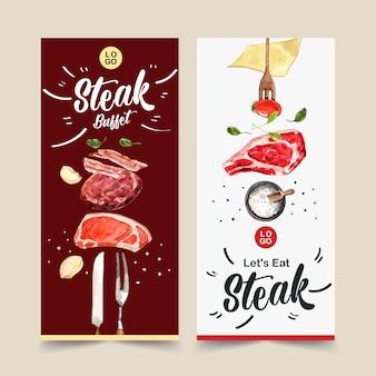 Stek ulotki projekt ze świeżym mięsem, pomidor akwarela ilustracja.