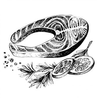 Stek z czerwonej ryby, łososia, z cytryną i ziołami