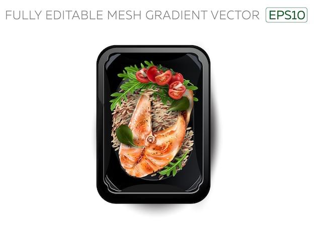 Stek z czerwonej ryby z ryżem w pudełku śniadaniowym.