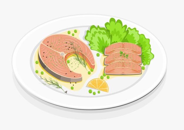 Stek z łososia i warzywa na białym talerzu