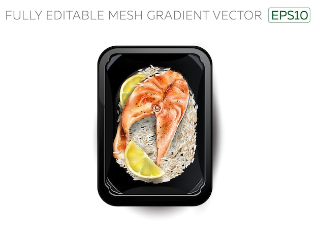 Stek z łososia z plastrami ryżu i cytryny w pudełku śniadaniowym.