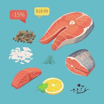 Stek z łososia. zestaw produktów z owoców morza.
