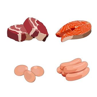 Stek z wołowiny, surowe polędwiczki. plastry czerwonego mięsa. kiełbasy drobiowe, drób. świeży stek z łososia. czerwony filet z ryby. jajka. zestaw śniadaniowy z pełnym białkiem. ilustracja na białym tle
