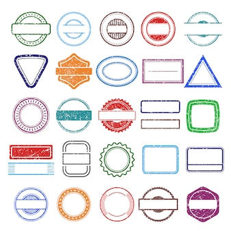 Stempel gumowe ramy. okrągłe i kwadratowe drapanie grunge kształty szablonów znaczków