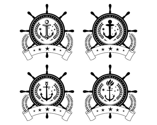 Ster statku i łodzi kierownica z kotwicą powyżej symbolu logo wody oceanu fali