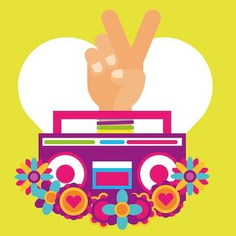 Stereo radio ręka pece i miłość kwiaty hipis wolny duch
