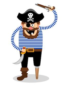 Stereotypowy pirat na białym tle z drewnianym kołkiem