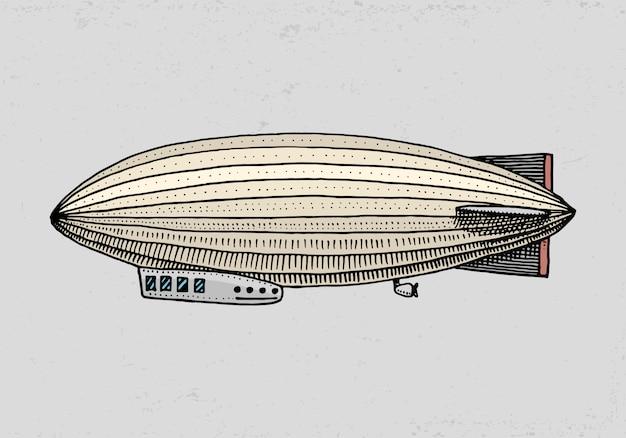 Sterowiec lub zeppelin i sterowiec lub sterowiec. na podróż. grawerowane ręcznie rysowane w starym stylu szkicu, vintage transportu.