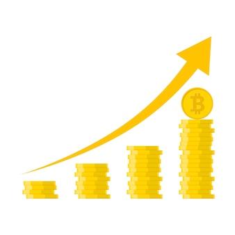 Sterta złotych bitcoinów w płaskiej konstrukcji