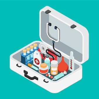 Stetoskop, lekki termometr clyster, lewatywa, pigułka, pipeta, maść, kolba