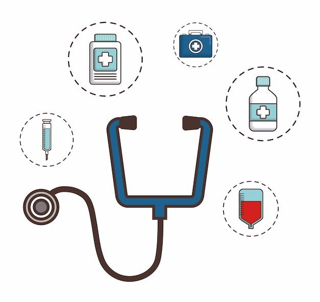 Stetoskop z elementami pierwszej pomocy w pobliżu