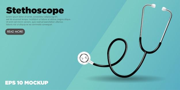 Stetoskop zestaw medyczny edytowalny baner strony internetowej