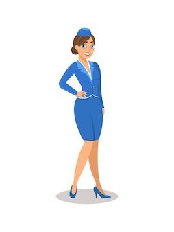 Stewardesa w niebieskim mundurze.