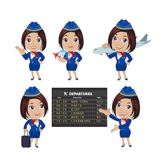 Stewardessa z różnymi pozami wektorami