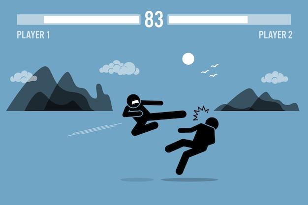 Stick figure fighter znaków walczących w grze. postacie wojowników stick figure walczące w scenie gry wideo z paskami zdrowia na górze.