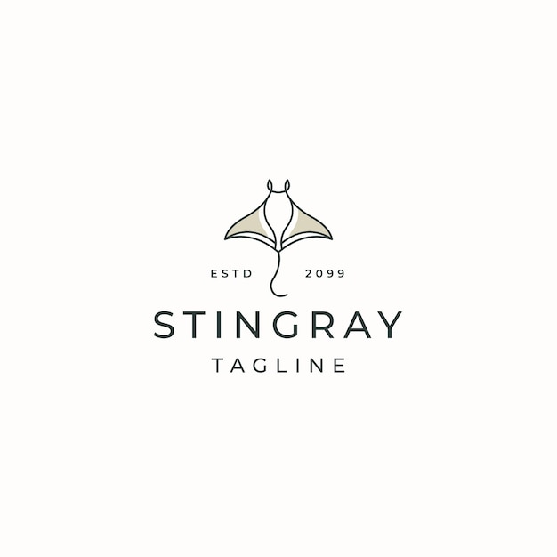 Stingray zwierząt logo ikona szablon projektu płaski wektor