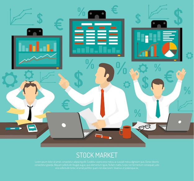 Stock market trader illustration