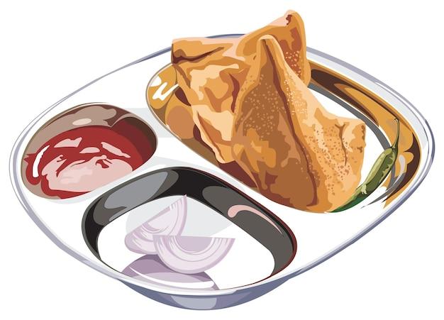 Stockowa ilustracja wektorowa domowych samosów podawanych na talerzu ze stali nierdzewnej