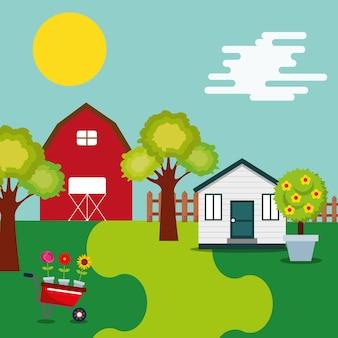 Stodoła gospodarstwa drewniany dom taczki kwiaty i drzewa