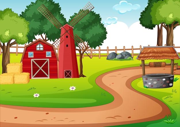 Stodoła i młyn na scenie farmy