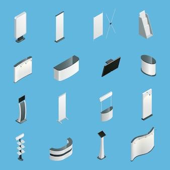 Stoiska promocyjne wystawy ustawić na białym tle izometryczne ikony