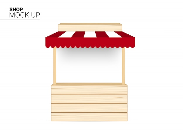 Stoisko drewniany sklep, kryty kiosk, sklep markizy wyświetlacz na sprzedaż promocja marketingowa wystawa na białej ilustracji
