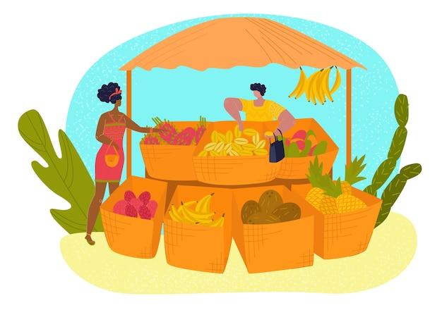 Stoisko, owoce tropikalne ustawione w stylu płaski, zdrowy, soczysty sklep spożywczy, handel detaliczny, ilustracja kreskówka, na białym tle.