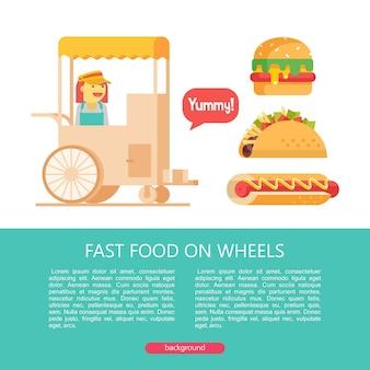 Stoisko sprzedaje hamburgery na ulicy, hot dogi, tacos. fast food. pyszne jedzenie. ilustracja wektorowa w stylu płaski. zestaw popularnych dań typu fast food. ilustracja z miejscem na tekst.