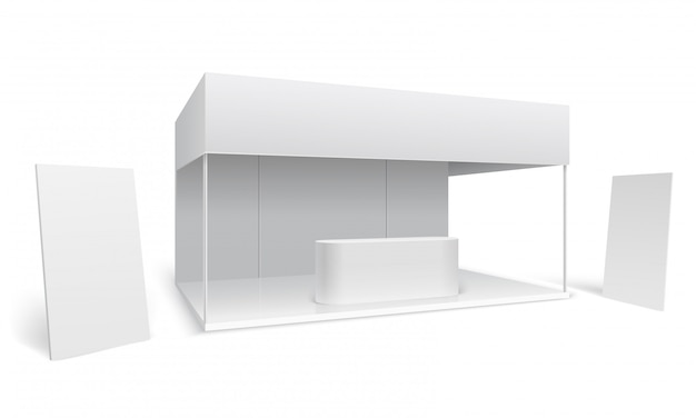 Stoisko targowe. białe puste stoisko marketingowe. stojak promocyjny z wyświetlaczem i stojące banery 3d wektor makieta