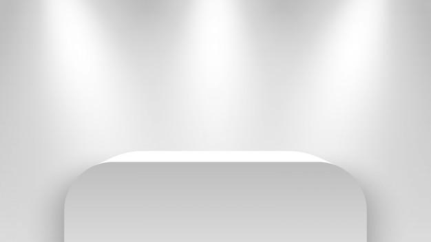 Stoisko wystawiennicze w kolorze białym, oświetlone reflektorami. piedestał. ilustracja.