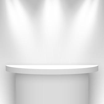 Stoisko wystawiennicze w kolorze białym, oświetlone reflektorami. piedestał. półka. ilustracja.