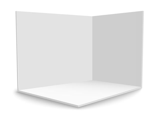 Stoisko wystawowe 3d. kwadratowy róg. wektor biały pusty geometryczny kwadrat. szablon pustego pola