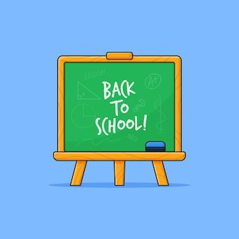 Stojąca tablica z powrotem do szkoły, pisanie konturu wektorowego ilustracja
