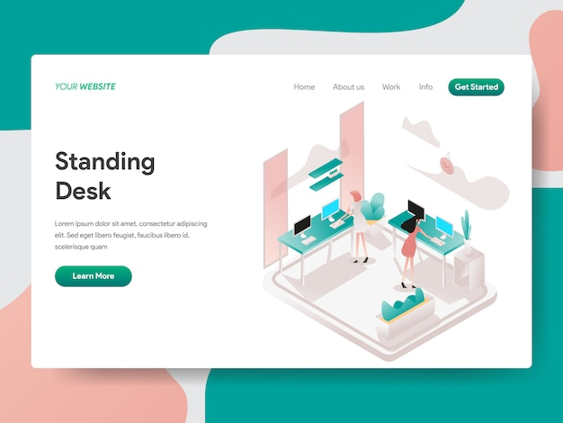 Stojące biurko w co working space isometric na stronie internetowej