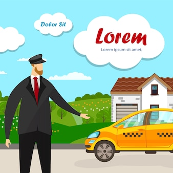 Stojący taksówkarz przy żółtym samochodzie przed domem.