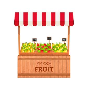 Stojak do sprzedaży owoców. jabłka i gruszki w drewnianych pudełkach. ilustracja stojak na owoce