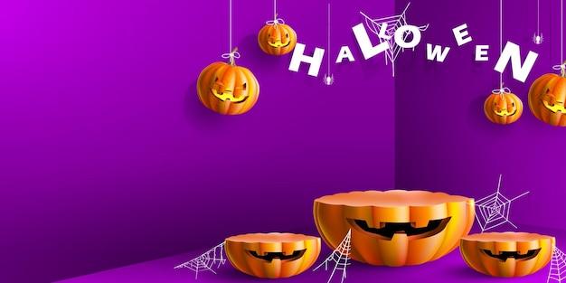 Stojak i produkt na podium z halloweenowymi dyniami na fioletowym tle