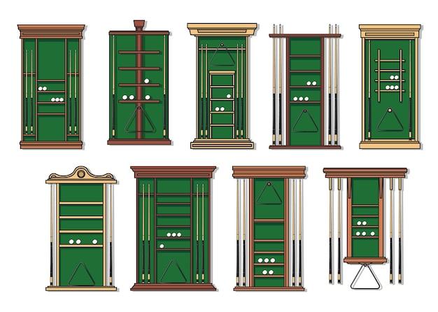 Stojak na kije bilardowe, kije bilardowe i bilardowe, piłki i trójkątne ramki na półkach. sport bilardowy, sprzęt i meble do klubu bilardowego, drewniane stojaki wektorowe z zielonym materiałem na kije snookerowe