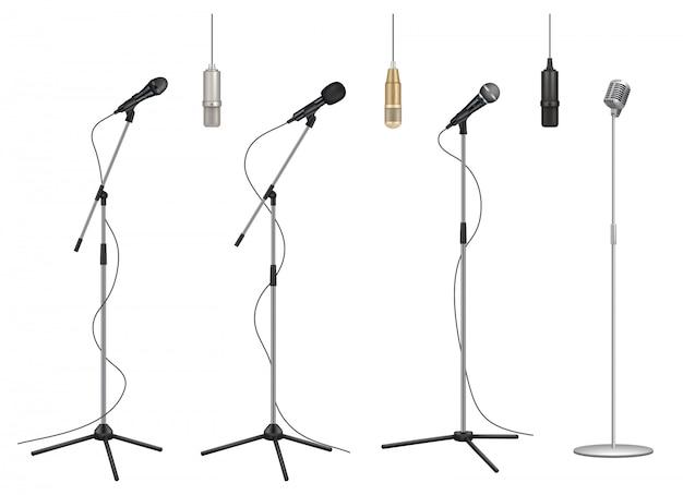Stojak na mikrofon. realistyczne mikrofony muzyczne dźwiękowe profesjonalne studio fotograficzne kolekcja zdjęć