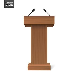 Stojak na podium trybuna z mikrofonami na białym tle