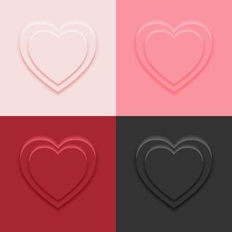Stojak na podium w kształcie serca w 4 kolorach w szablonie stylu neumorfizmu