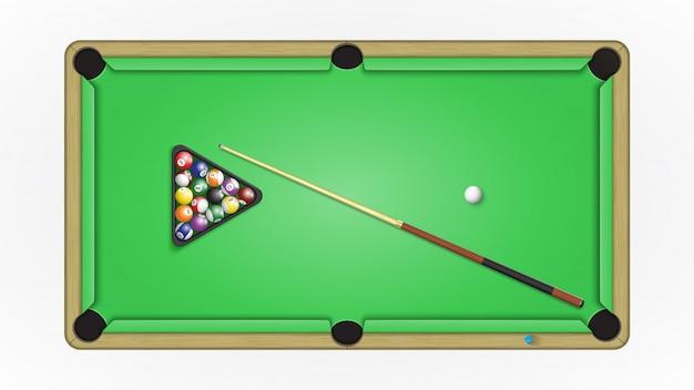 Stół bilardowy bilardowy, piłki, kij i kreda