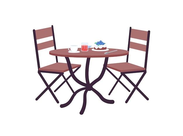 Stół do kawiarni z obiektem o płaskim kolorze zamówienia. restauracja romantyczna kolacja. lunch w piekarni na randkę. serwowane w kawiarni deser na białym tle ilustracja kreskówka do projektowania grafiki internetowej i animacji